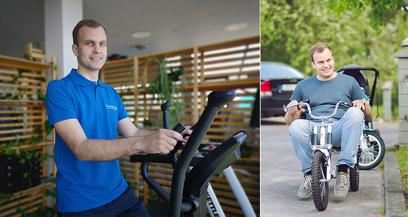 """Dvi """"Sveikatos salos"""" kliento Aleksandro nuotraukos (sporto salėje ir ant dviračio)"""